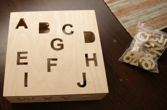 "Jucarie educativa din traforaj ""Cutie cu litere"""